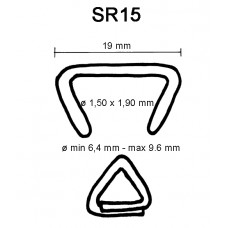 D-ring SR15 RVS Scherp